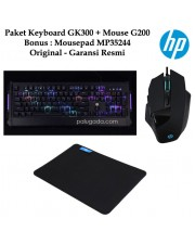 Paket HP Keyboard GK300 Mouse G200 Bonus Mousepad MP3524