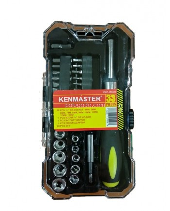 Kenmaster Kunci Sok 33 Pcs - Screwdriver Socket Wrench Set 33pcs