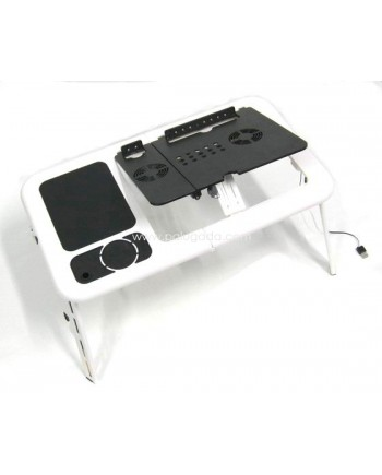 T04 - Portable Compact Desk with Fan, Cup Holder, Mouse pad, Pen Standing